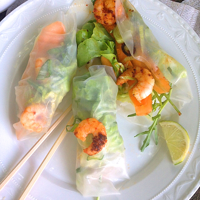 prawn and lettuce rolls