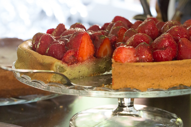 matcha and strawberry tart