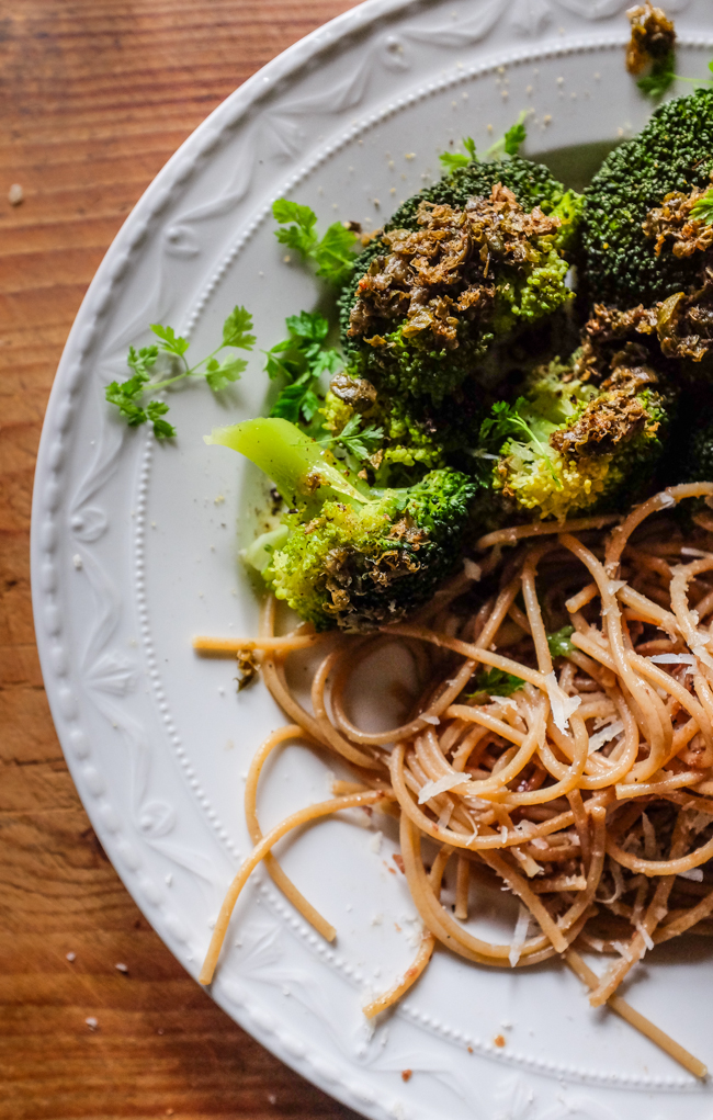 steamesd broccoli with caper brown butter