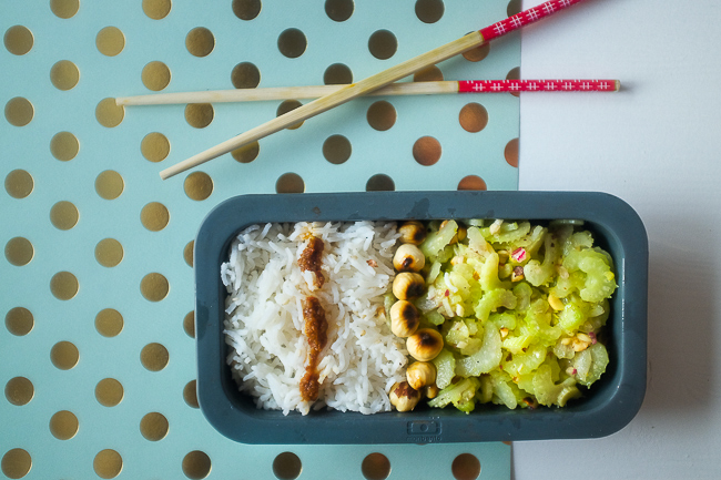 bento box with celery salad and rice