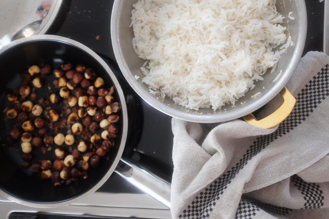 rice and hazelnuts