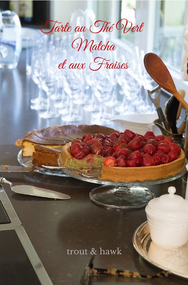 strawberry and matcha tart