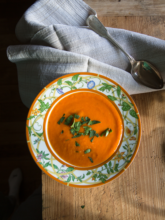 red peppe, potato and pear soup